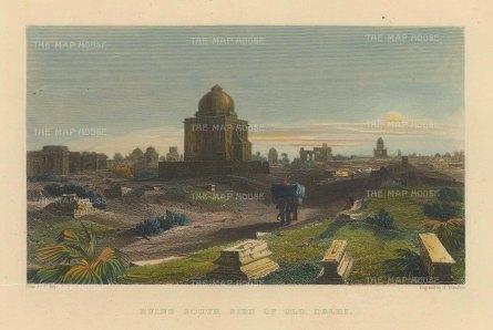 Elliot: Old Delhi. 1842. A hand-coloured original antique steel-engraving. 6 x 5 inches. [INDp1405]