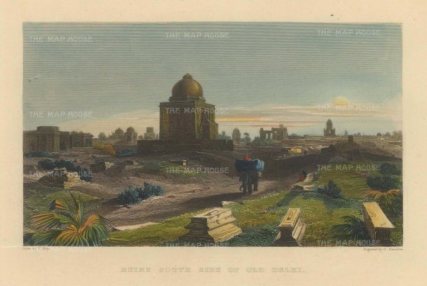Elliot: Old Delhi. 1842. A hand-coloured original antique steel-engraving. 6 x 5 inches. [INDp1405]