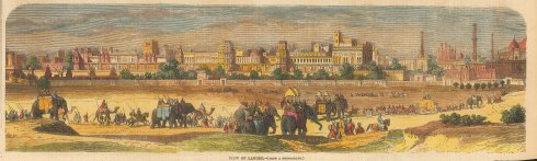 SOLD Lahore:Panoramic view with elephant caravan in the foreground.