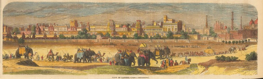 SOLD Lahore: Panoramic view with elephant caravan in the foreground.