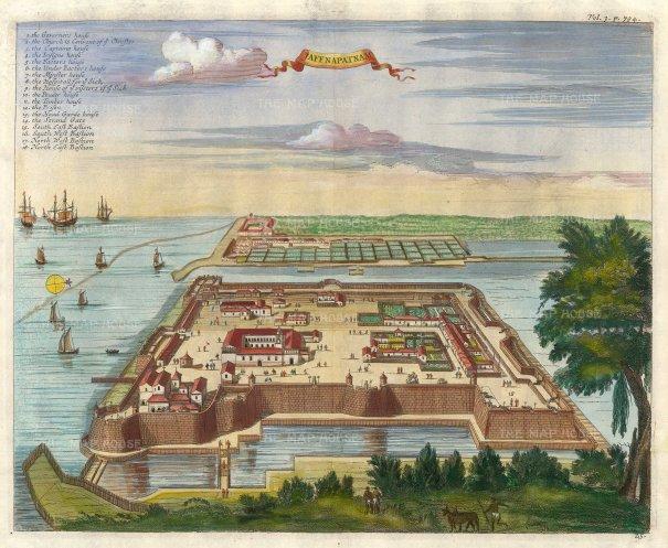 Churchill: Jaffna, 1746. A hand-coloured original copper-engraving. 14 x 12 inches. [INDp1408]