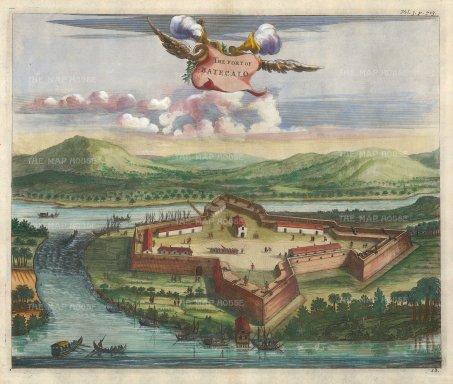 Churchill: Batecalo. 1746. A hand-coloured original antique copper-engraving. 14 x 10 inches. [INDp1409]