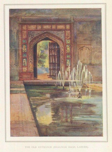 Villiers-Stuart: Lahore. 1918. An original antique chromo-lithograph. 5 x 6 inches. [INDp1416]