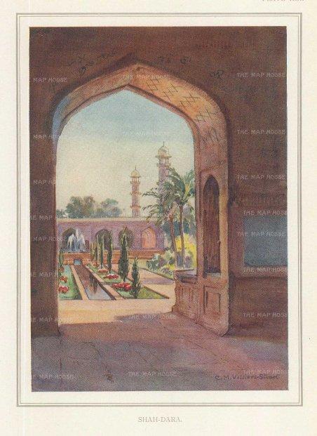 Villiers-Stuart: Lahore. 1918. An original antique chromo-lithograph. 5 x 6 inches [INDp1417]