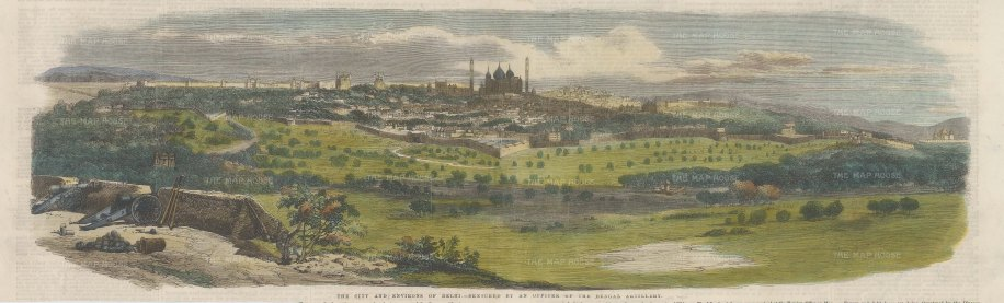 The Illustrated London News: Delhi. 1857. A hand-coloured original antique wood-engraving. 20 x 6 inches. [INDp1421]