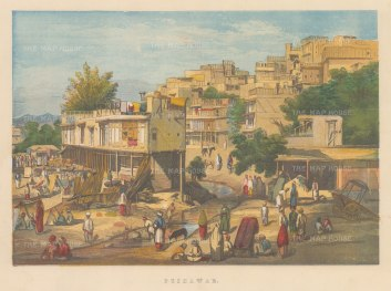 Peshawar: View of the market and terraced houses.