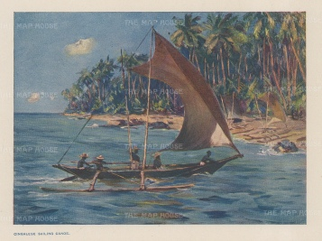 "Norbury: Sailing boat. 1913. An original antique chromolithograph. 5"" x 4"". [INDp1432]"