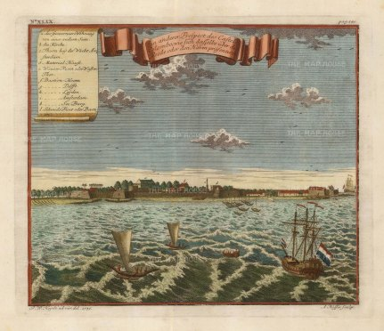 Colombo. Prospect of the harbour and fortress. Key in German.