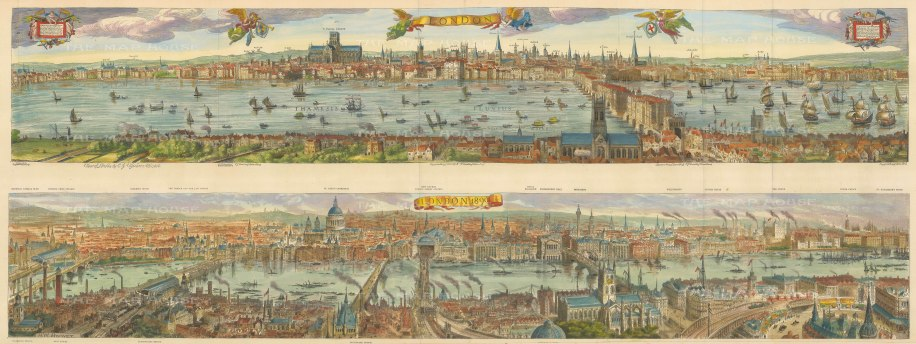 Double Panorama looking North: Visscher's seminal panorama from 1616 above with a 1890 view below. With detailed key to buildings.