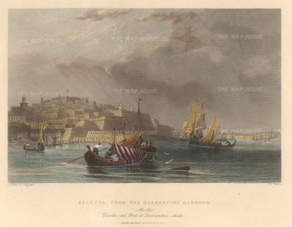 "Jackson: Valetta, Malta. c1840. A hand coloured original antique steel engraving. 8"" x 6"". [MEDp321]"