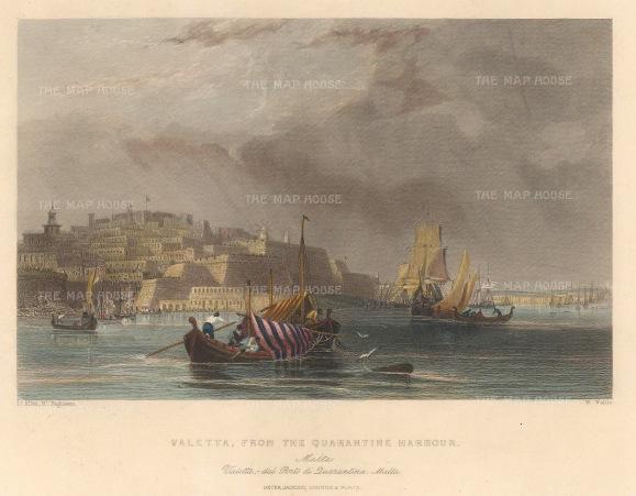 "Jackson: Valetta, Malta. c1840. A hand coloured original antique steel engraving. 8"" x 6"". [MEDp321]"