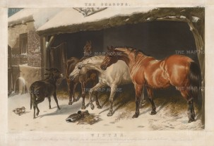 Set of Four: The Seasons: Pastoral scenes of horses: Autumn, Winter, Spring, Summer.