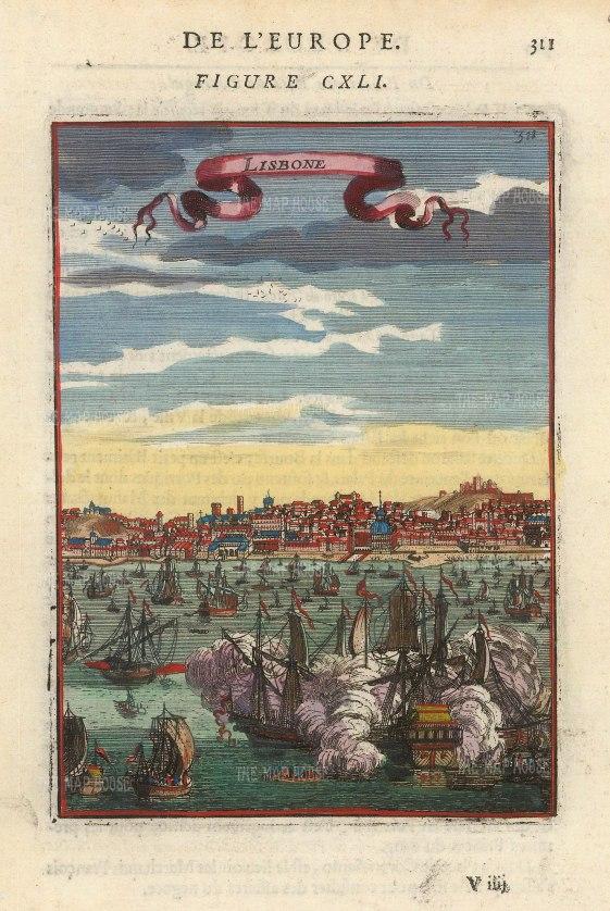 "Mallet: Lisbon. 1683. A hand coloured original antique copper engraving. 4"" x 6"". [PORp183]"