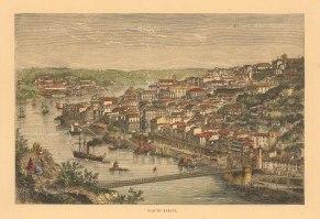 """Collins: Porto. c1870. A hand coloured original antique wood engraving. 8"""" x 6"""". [PORp199]"""