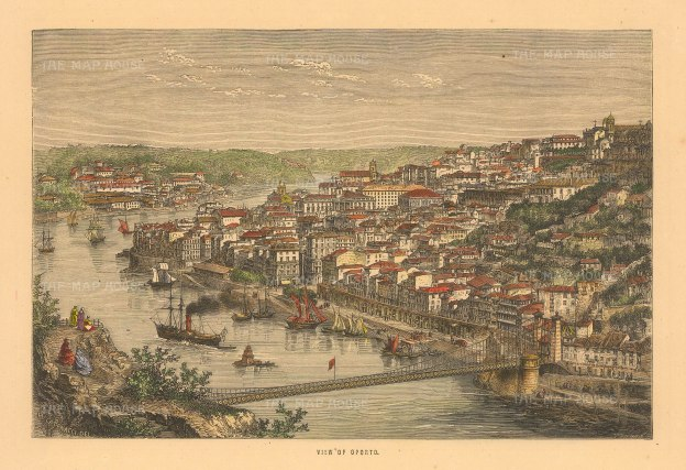 "Collins: Porto. c1870. A hand coloured original antique wood engraving. 8"" x 6"". [PORp199]"