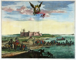 Natal: Rio Grande do Norte: Citadel at the mouth of the Potenji River. With key in Latin and the arms of Northeastern Dutch Brazil.