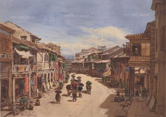 Street View in Hong Kong: Shops with signs to either side. Drawn from life during Hildebrandt's 'round-the-world' voyage.