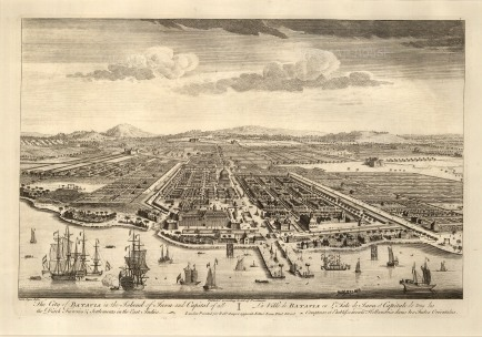 Java: Batavia (Jakarta). Bird's eye view from the Bay of Jakarta over the Dutch settlement.