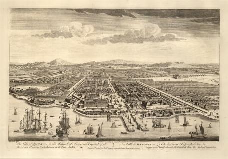 Batavia (Jakarta), Java. Bird's eye view from the Bay of Jakarta over the Dutch settlement.