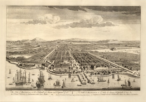 Batavia (Jakarta), Java. Bird's eye view from the Bay of Jakarta over the Dutch settlement.