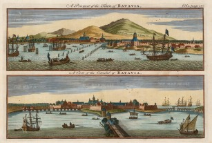 "Harris: Jakarta, Java. 1748. A hand coloured original antique copper engraving. 10"" x 8"". [SEASp1494]"