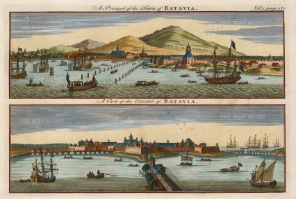 Java: Batavia (Jakjarta): Double Panorama of the town from the Bay, and of the citadel built by the Dutch in 1619.