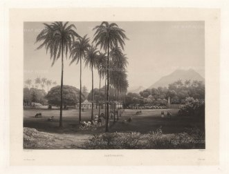 Java: Banjowangui (Banyuwangi): Former capital of the Hindu Blambangan kingdom looking towards the Ijen volcano range. After Lavergne Barthlemy, artist on the voyage of La Favorite 1829-32.