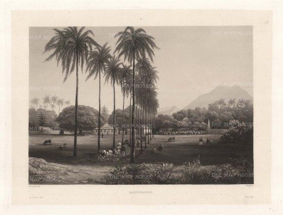 Banjowangui (Banyuwangi), Java: Fformer capital of the Hindu Blambangan kingdom looking towards the Ijen volcano range. After Lavergne Barthlemy, artist on the voyage of La Favorite 1829-32.