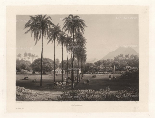 Banjowangui (Banyuwangi), Java: Fformer capital of the Hindu Blambangan kingdom looking towards the Ijen volcano range. After Lavergne Barthlemy, artist on the voyage of La Favorite 1829-32.