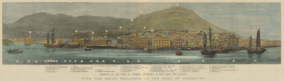 Victoria: Panoramic view of the harbour from St John's Cathedral to the Chinese warehouse. With key.