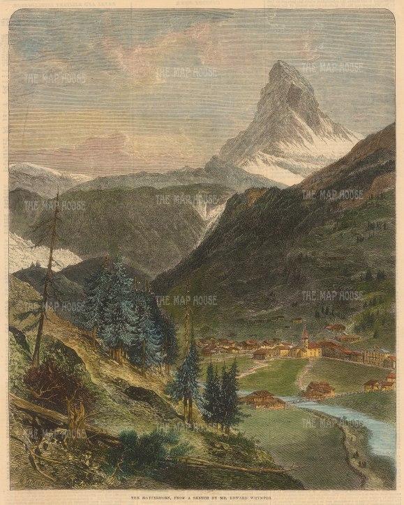 "Illustrated London News: Matterhorn. 1865. A hand coloured original antique wood engraving. 10"" x 12"". [SWIp775]"
