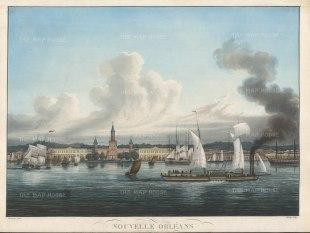 New Orleans: View of Jackson Square (Place des Armes) and other buildings on the Rue de la Levee (Decatur St) with an unbanked Mississippi river, sailboats at dock and in passage, and an early single deck steamboat.