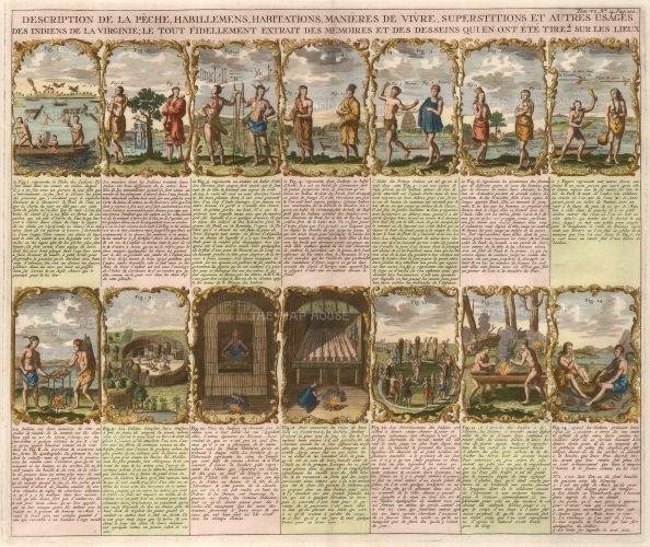 Chatelain. 1719. Native Virginians. An original antique copper engraving. 18 x 16 inches. [USAp4017]