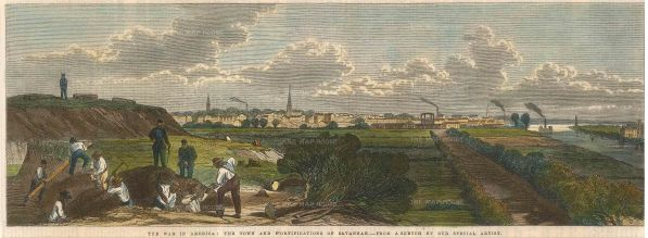 The Illustrated London News: Savannah, Georgia. 1863. A hand-coloured original antique wood-engraving/ 14 x 6 inches. [USAp4383]