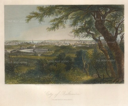 "Picturesque America: Baltimore, Maryland. 1873. A hand coloured original antique steel engraving. 9"" x 8"". [USAp4430]"