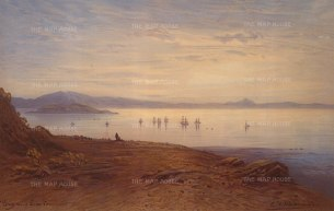 San Francisco Bay: Drawn from life during Hildebrandt's 'round-the-world' voyage.