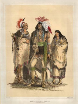North American Indians: Composite portrait of an Osage warrior, Iroquois warrior and a Pawnee women.