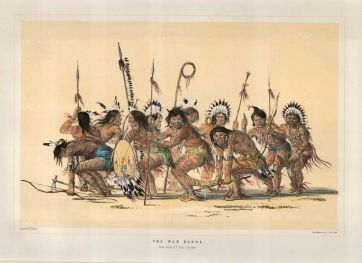 War Dance: Dance of the Ojibwa Braves sketched at Fort Snelling, Minnesota.