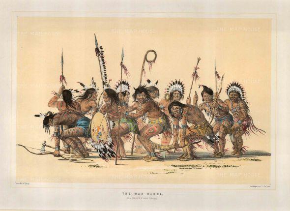 War Dance: Dance of the Ojibwa Braves sketched at Fort Snelling, Minnesota.