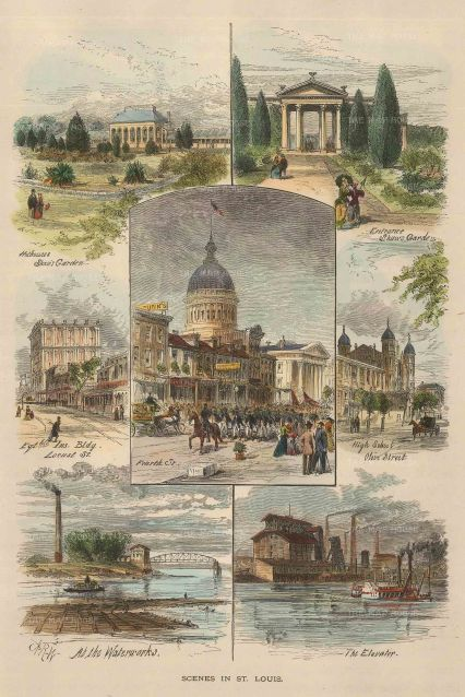 "Picturesque America: St. Louis, Missouri. 1897. A hand coloured original antique wood engraving. 7"" x 9"". [USAp4507]"