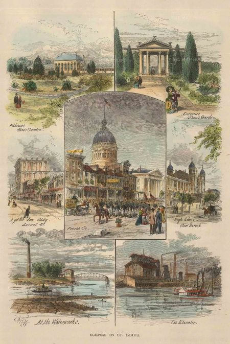 Picturesque America: St. Louis, Missouri. 1897. A hand coloured-original wood-engraving. 7 x 9 inches. [USAp4507]