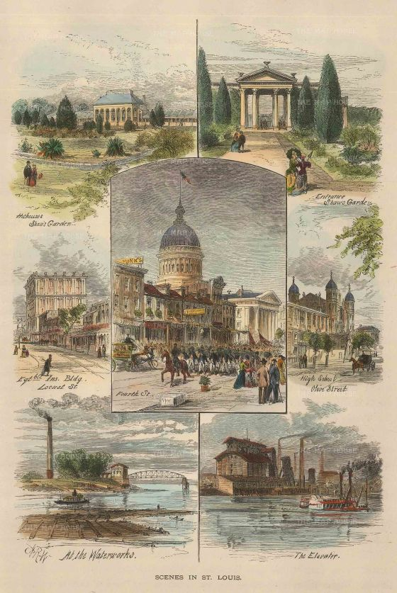 Picturesque America: St. Louis, Missouri. 1897. A hand coloured original antique wood engraving. 7 x 9 inches. [USAp4507]