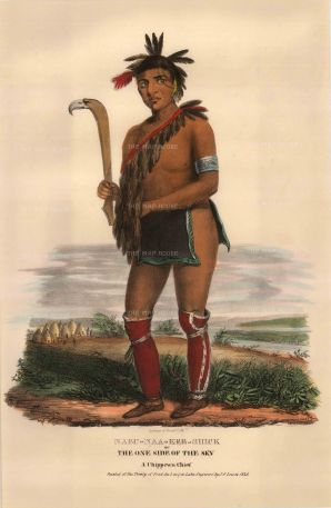 Nabu-Naa-Kee-Shick (One Side of the Sky), a Chippewa Chief.