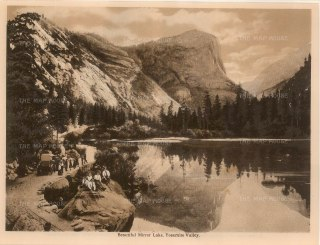 "Anon: Mirror Lake, Yosemite Valley. c1910. An original antique photogravure. 8"" x 6"". [USAp4608]"
