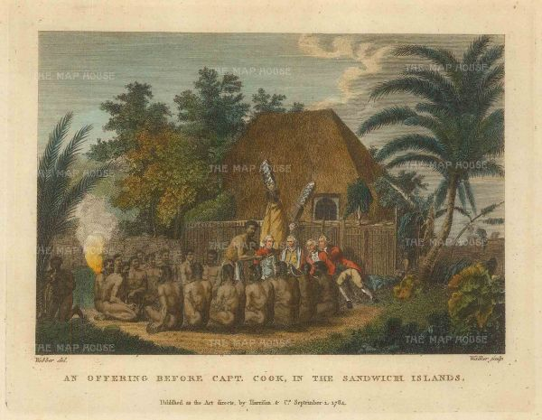 Kealakekua Bay: An offering before Captain Cook as the incarnation of the god Lono.