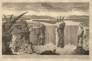 Niagara Falls: View of Horseshoe Falls, Goat Island, the American Falls and the Bridal Veil Falls, with Horseshoe falls on the Canadian American border.