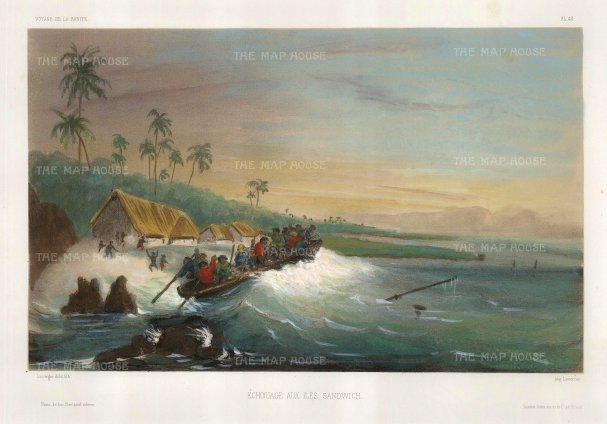 Boat grounding off the coast by a village. After Barthelemy Lauvergne, artist on the voyage of La Bonite 1836-7.