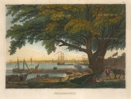 "Fisher: Philadelphia, Pennsylvania. 1829. A hand coloured original antique steel engraving. 9"" x 7"". [USAp4712]"