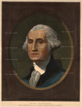 The Illustrated London News: George Washington. 1876. A hand-coloured original antique wood-engraving. 14 x 18 inches. [USAp4725]