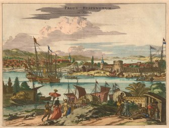 St Augustine: View of the fort and harbour before the infamous raid of British buccaneer Robert Searles and the subsequent building of Castillo San Marcos.